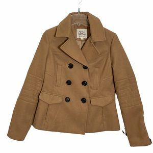 Maralyn & Me Tan Hooded Pea Coat Button Down Collared Size Large